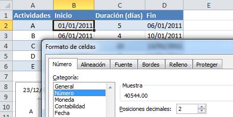 Plantilla de Excel para crear diagrama de Gantt