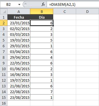 Función ELEGIR en Excel