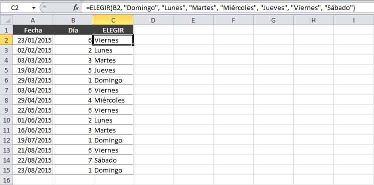 Ejemplo de la función ELEGIR en Excel