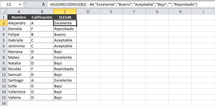 Para qué sirve la función ELEGIR en Excel
