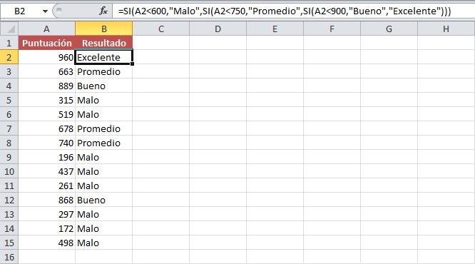 Funciones SI anidadas en Excel