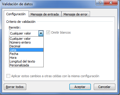 Crear una lista desplegable simple en Excel
