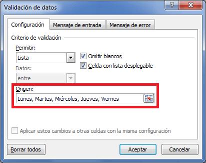 Crear listas desplegables en Excel