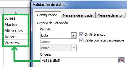 Crear una lista desplegable dentro de una celda de Excel