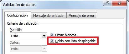Celda de Excel con Lista desplegable