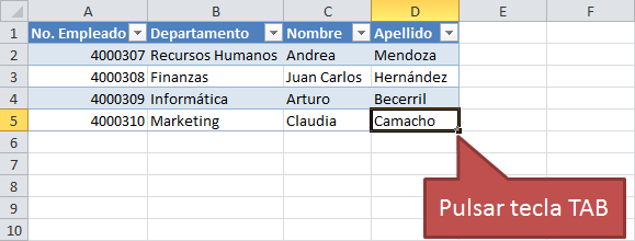 Agregar filas a una tabla de Excel