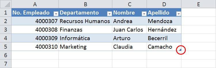 Cómo insertar filas en una tabla de Excel