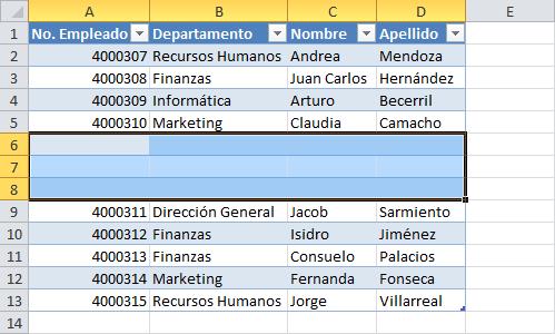 Insertar múltiples filas a una tabla en Excel