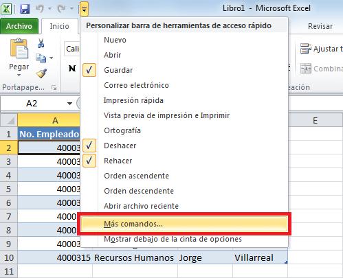 Cómo insertar una fila en una tabla de Excel
