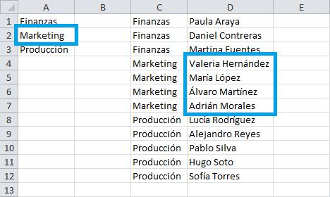 Listas dependientes con la función DESREF