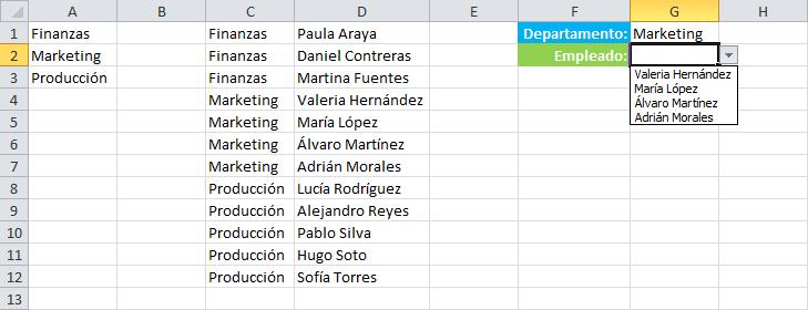 Cambiar lista en base a la selección de otra lista en Excel