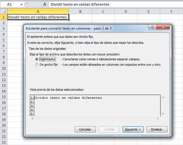 Dividir texto en columnas en Excel