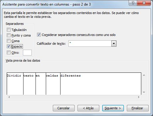 Dividir texto en celdas diferentes en Excel