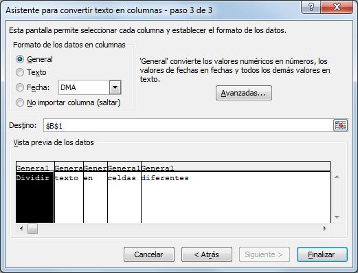 Cómo separar una cadena de texto en Excel