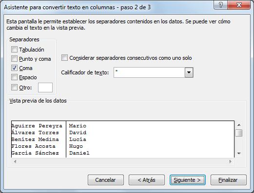 Separar texto en palabras con Excel