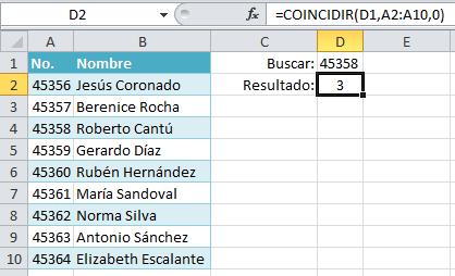 Ejemplo de la función COINCIDIR en Excel
