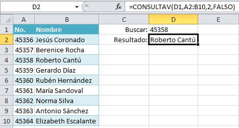 Función CONSULTAV en Excel 2010