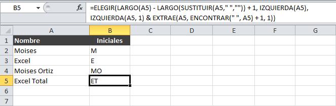 Extraer las iniciales de un nombre en Excel