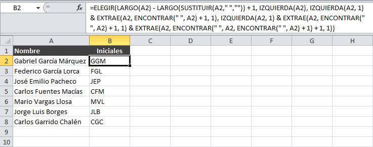Cómo extraer las iniciales de un nombre en Excel