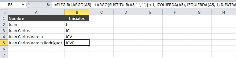 Sacar las iniciales de un nombre en Excel