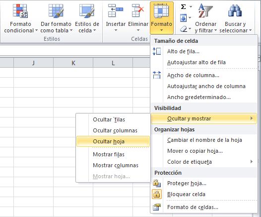Ocultar hojas de Excel con método avanzado