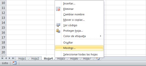 Ocultar y mostrar hojas de Excel