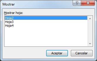 Ocultar o mostrar una hoja de Excel