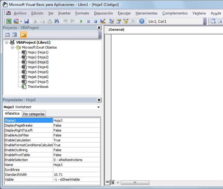 Ocultar hoja de Excel con propiedad Visible