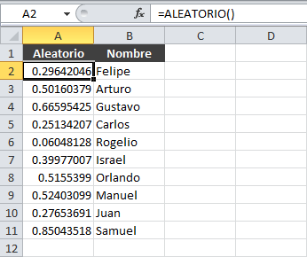 Ordenar aleatoriamente en Excel