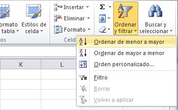 Datos en orden aleatorio en Excel