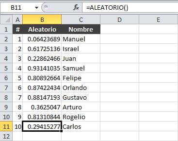 Listas de datos aleatorios en Excel