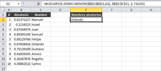 Ordenar una lista de datos de forma aleatoria en Excel