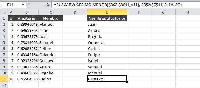 Orden aleatorio en Excel