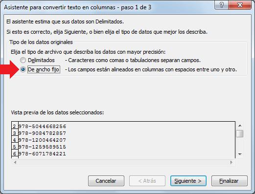 Dividir texto en columnas con funciones de Excel