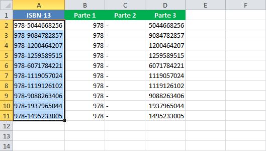 Separar texto en varias columnas en Excel
