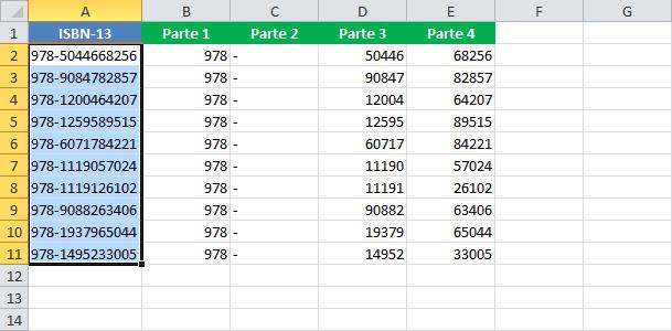 Separar palabras que se encuentran en una celda de Excel