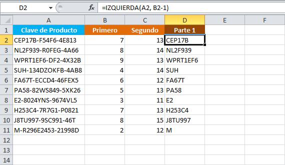 Extraer palabras de un texto en Excel