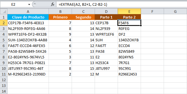 Separar una cadena de texto por un ancho definido en Excel