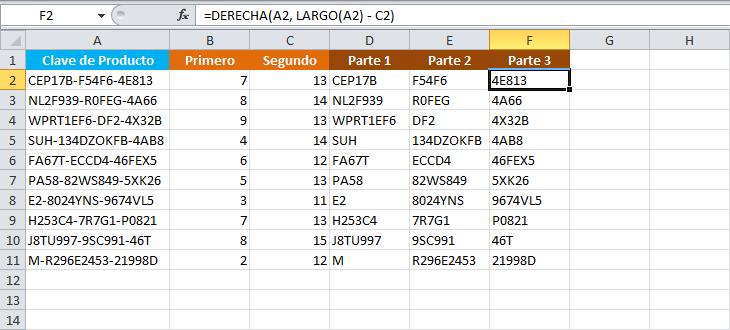 Separar una cadena de texto en Excel por un carácter delimitador