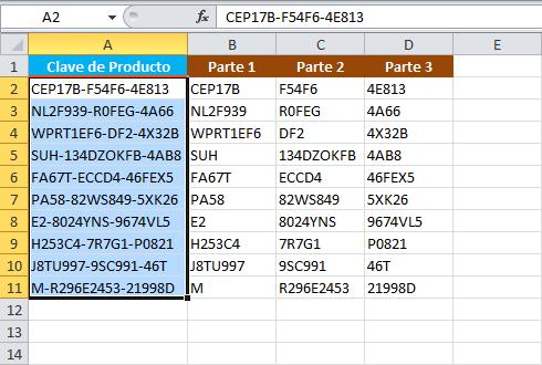 Comando Texto en columnas para separar una cadena en Excel