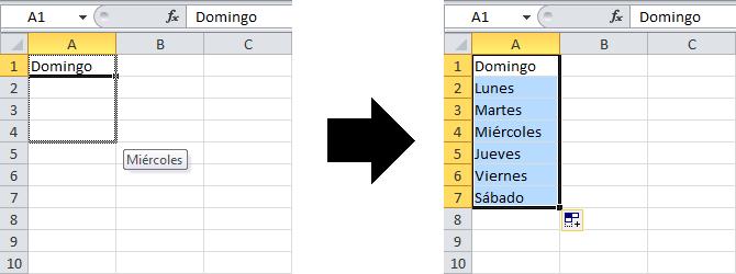 Usar listas personalizadas para auto rellenar en Excel