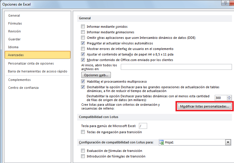 Crear listas personalizadas en Excel para auto rellenar