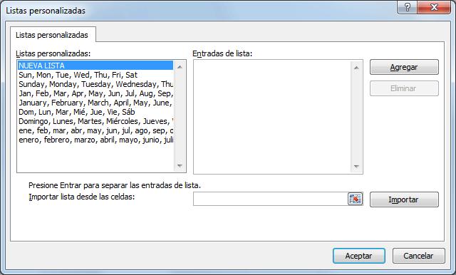 Crear listas personalizadas de auto relleno en Excel