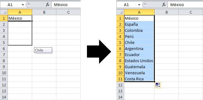 Rellenar datos automáticamente en Excel