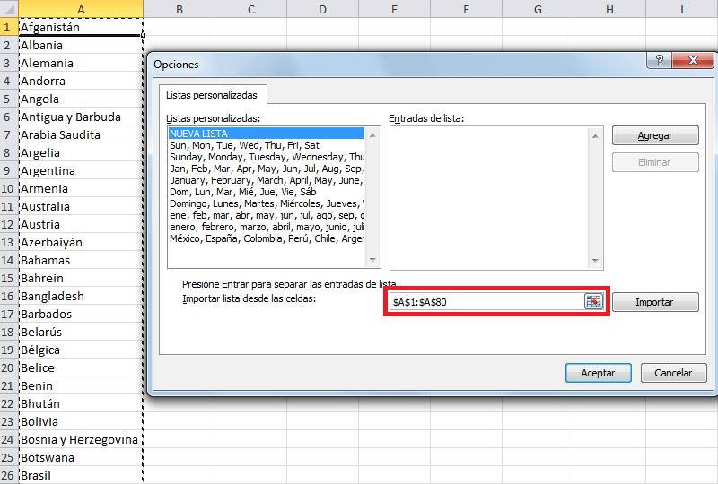Utilizar una lista de relleno personalizada en Excel