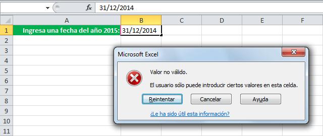 Validación fechas Excel