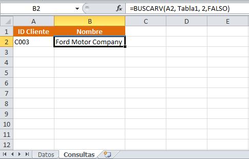 Consultar datos en otra hoja con la función BUSCARV
