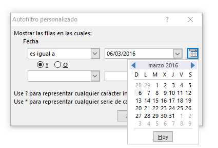 Utilizar filtros por fecha en Excel