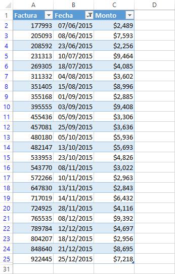 Filtros con fechas en Excel