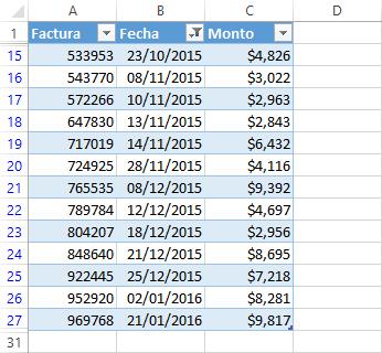 Filtro avanzado por rango de fechas